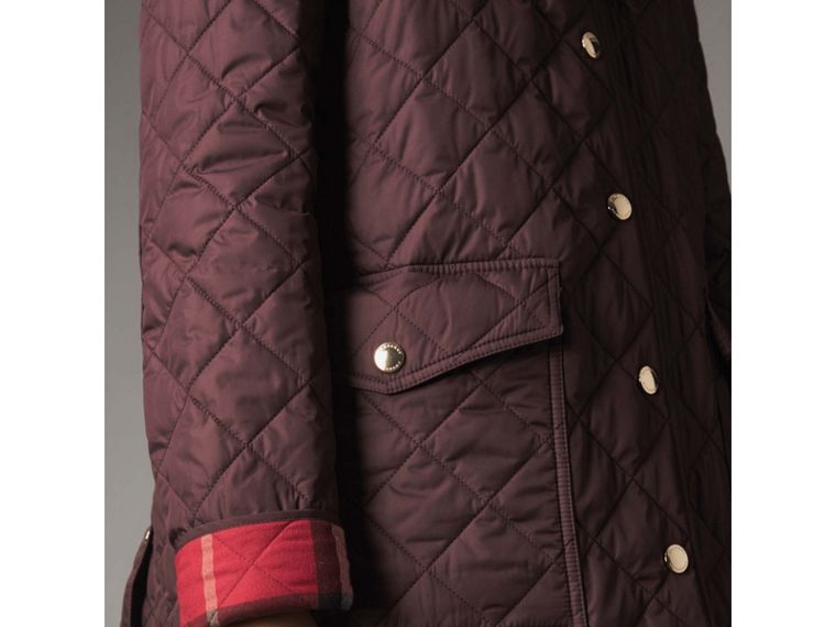 Check Detail Diamond Quilted Jacket in Burgundy - Women | Burberry - cell image 4