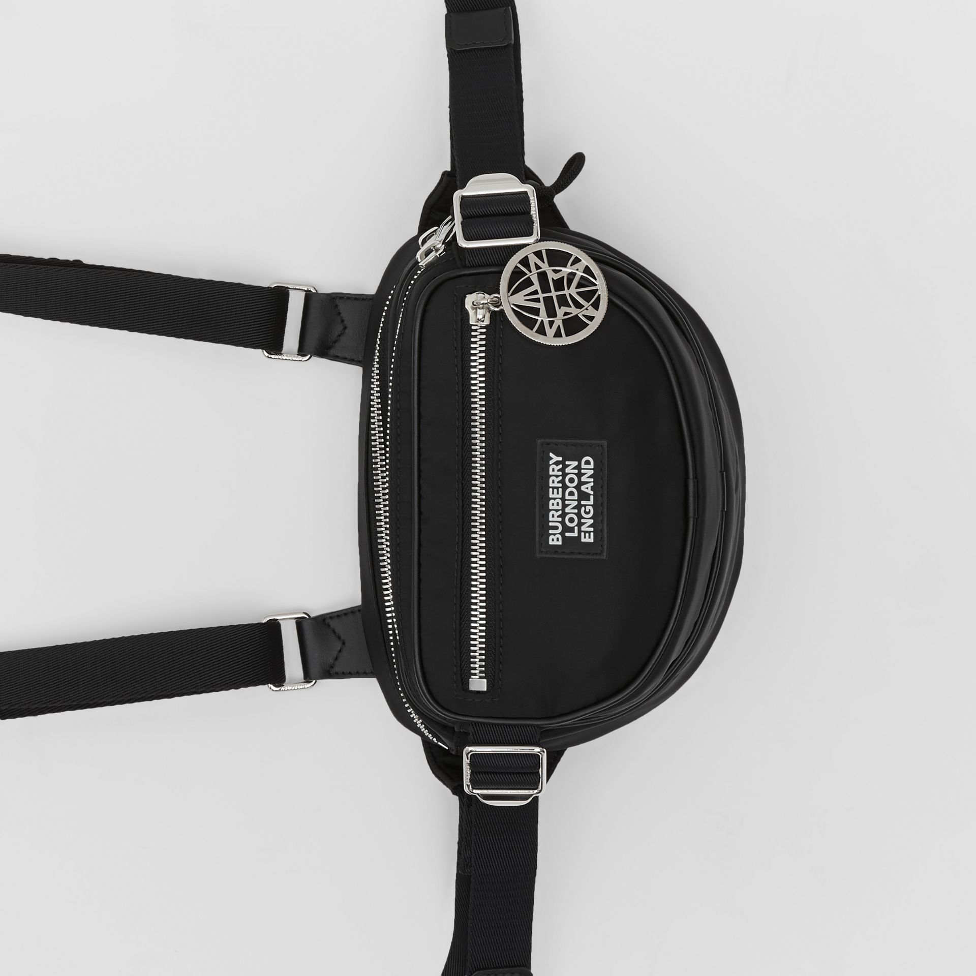 Logo Appliqué ECONYL® Cannon Belt Pack in Black | Burberry - gallery image 4