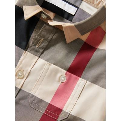 Burberry - Chemise en coton à manches courtes avec motif check - 2