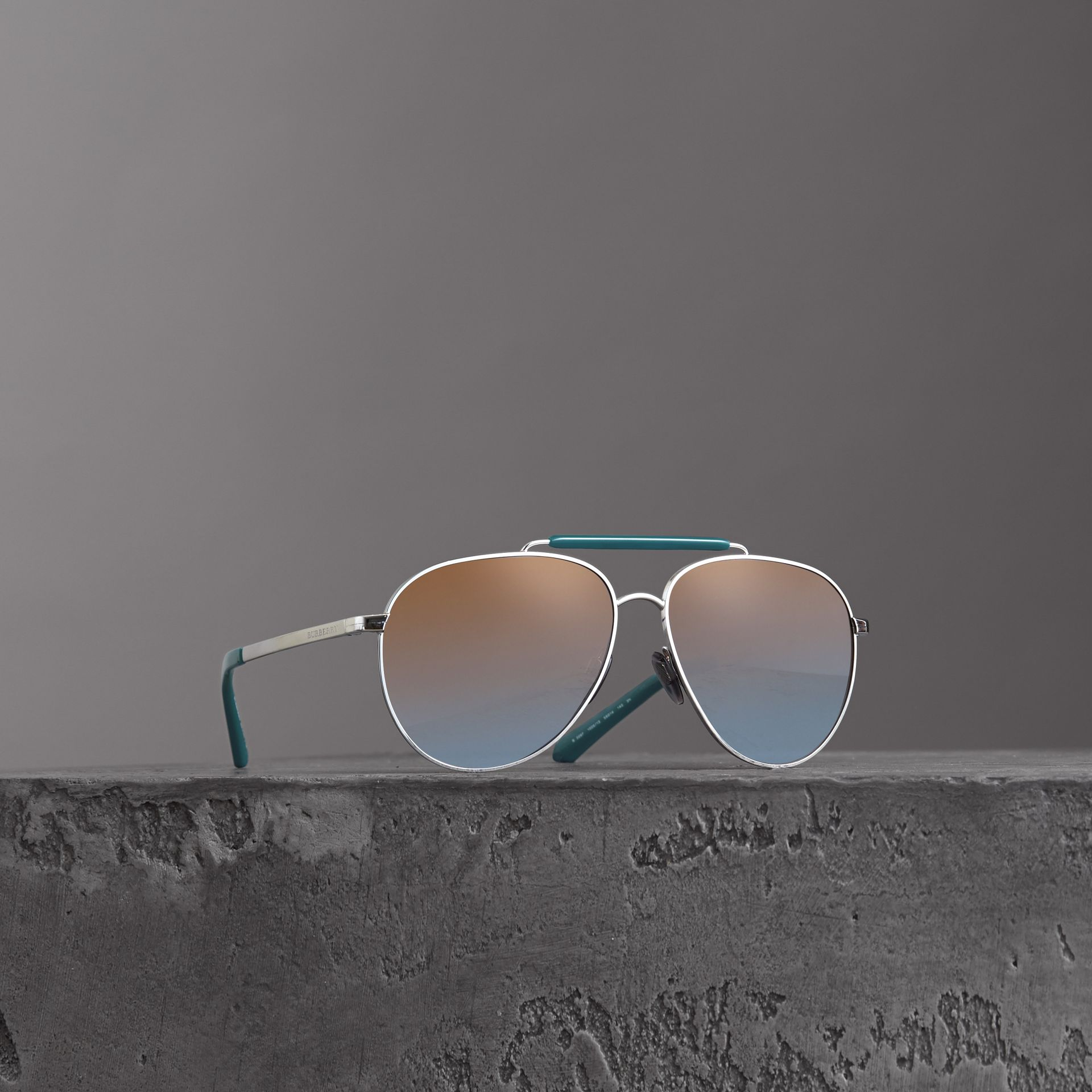 Top Bar Detail Pilot Sunglasses in Teal Blue - Men | Burberry - gallery image 0