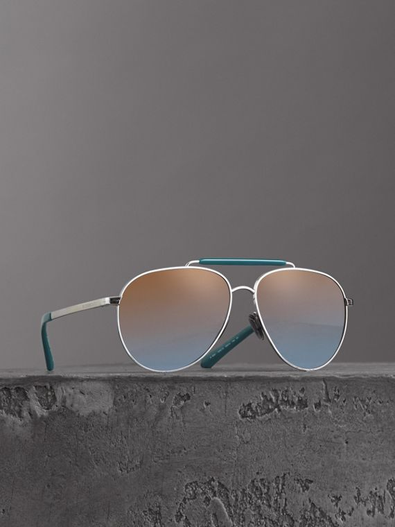 Top Bar Detail Pilot Sunglasses in Teal Blue