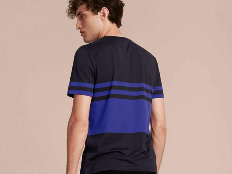 Navy Stripe Print Cotton T-shirt Navy - cell image 1