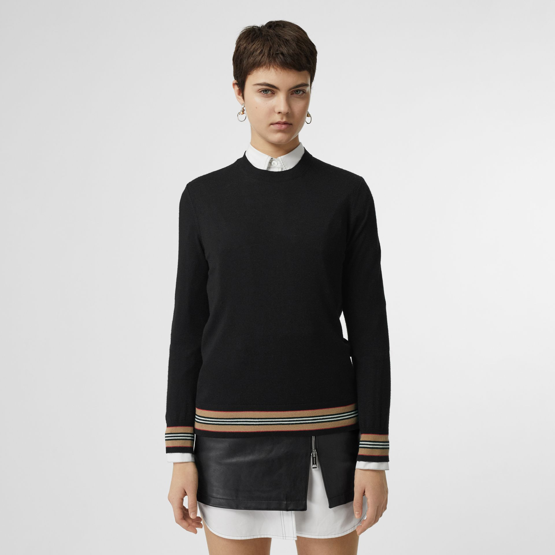 Icon Stripe Detail Merino Wool Sweater in Black - Women | Burberry Hong Kong - gallery image 0