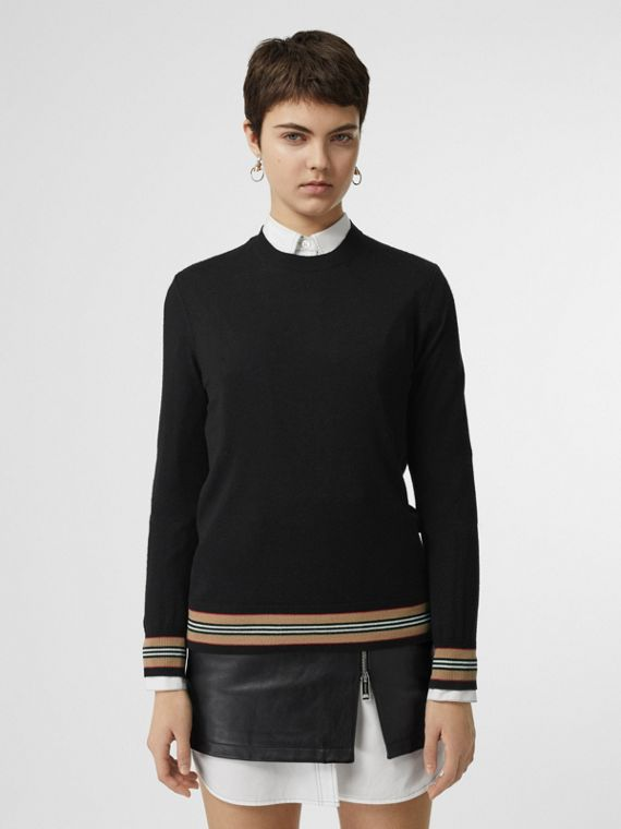 Icon Stripe Detail Merino Wool Sweater in Black
