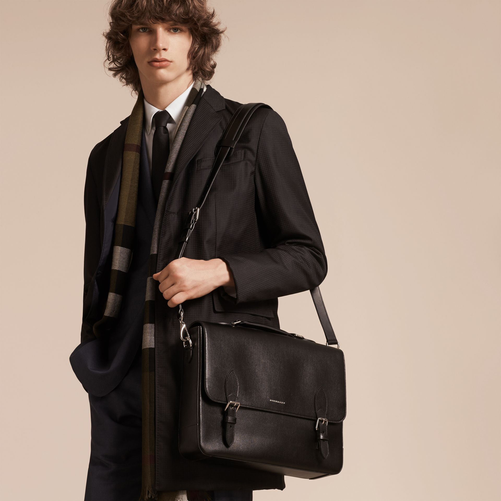 Black London Leather Briefcase - gallery image 3