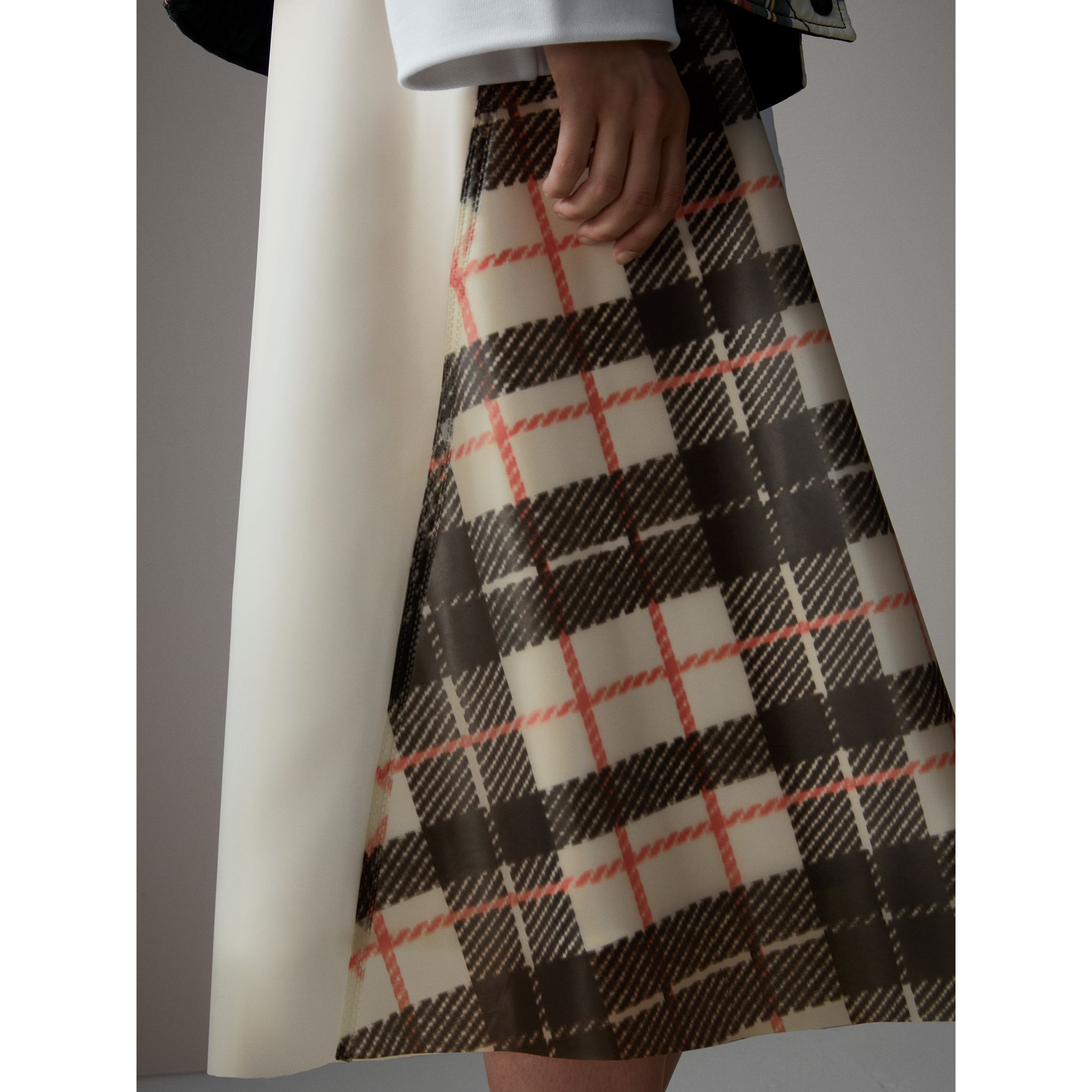 Silk-lined Tartan Plastic A-line Skirt in Black/beige - Women | Burberry United Kingdom - gallery image 1