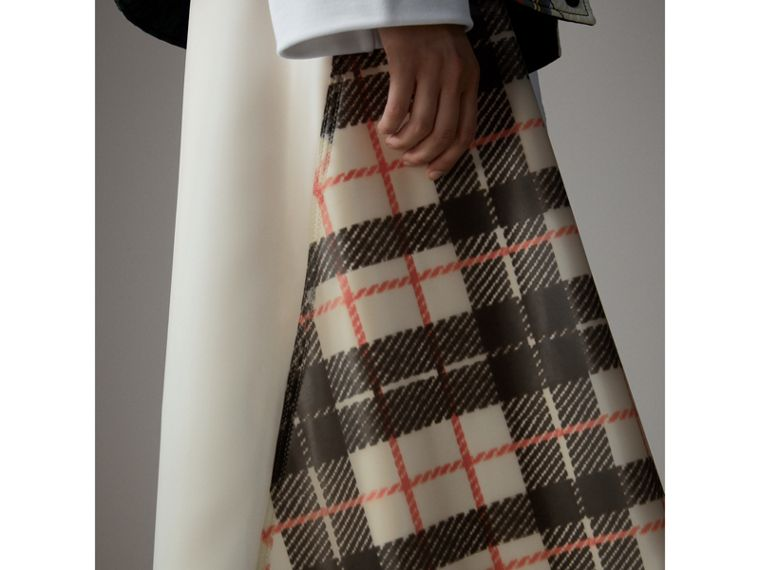 Silk-lined Tartan Plastic A-line Skirt in Black/beige - Women | Burberry United Kingdom - cell image 1