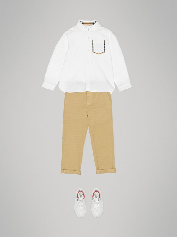 Check Detail Cotton Oxford Shirt in White | Burberry - cell image 2