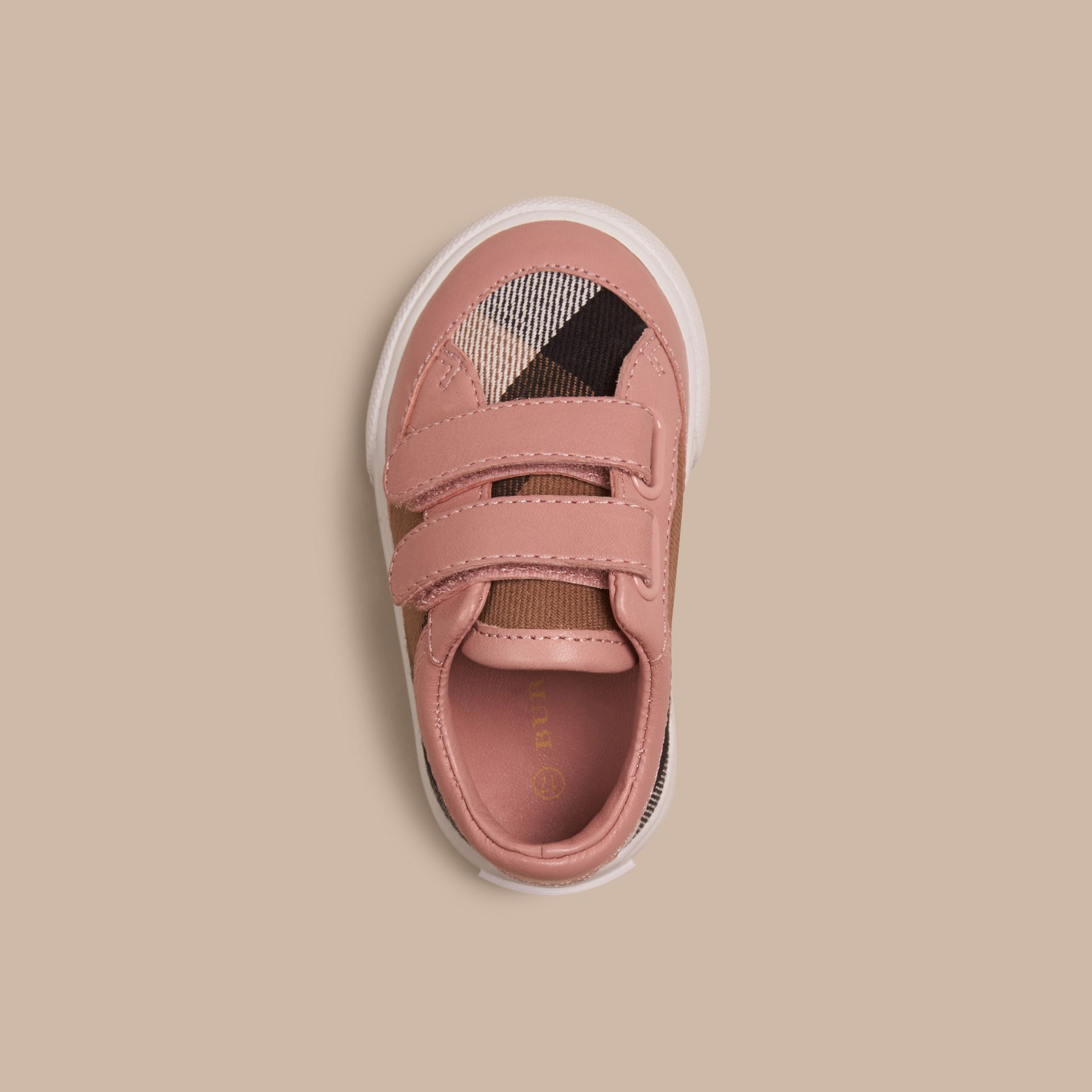 House Check and Leather Trainers in Peony Rose Melange - Children | Burberry United Kingdom - gallery image 2