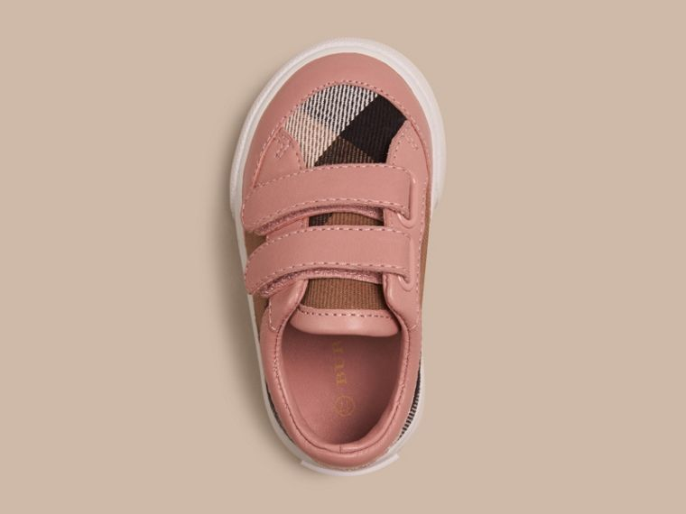 House Check and Leather Trainers in Peony Rose Melange - Children | Burberry - cell image 1