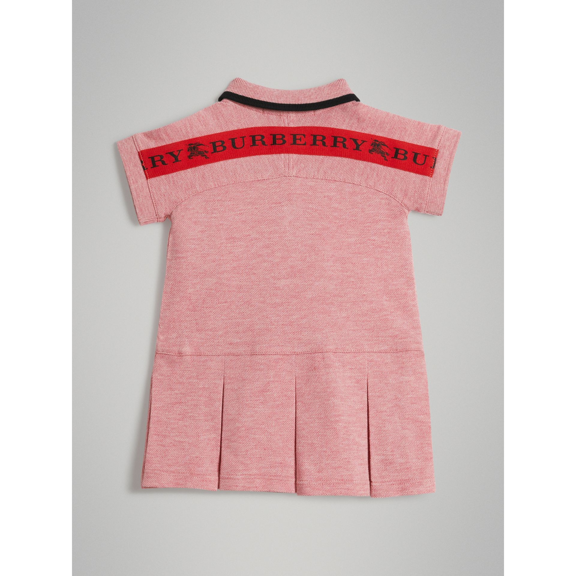 Logo Detail Tipped Cotton Polo Dress in Pale Pink Melange - Children | Burberry United States - gallery image 3