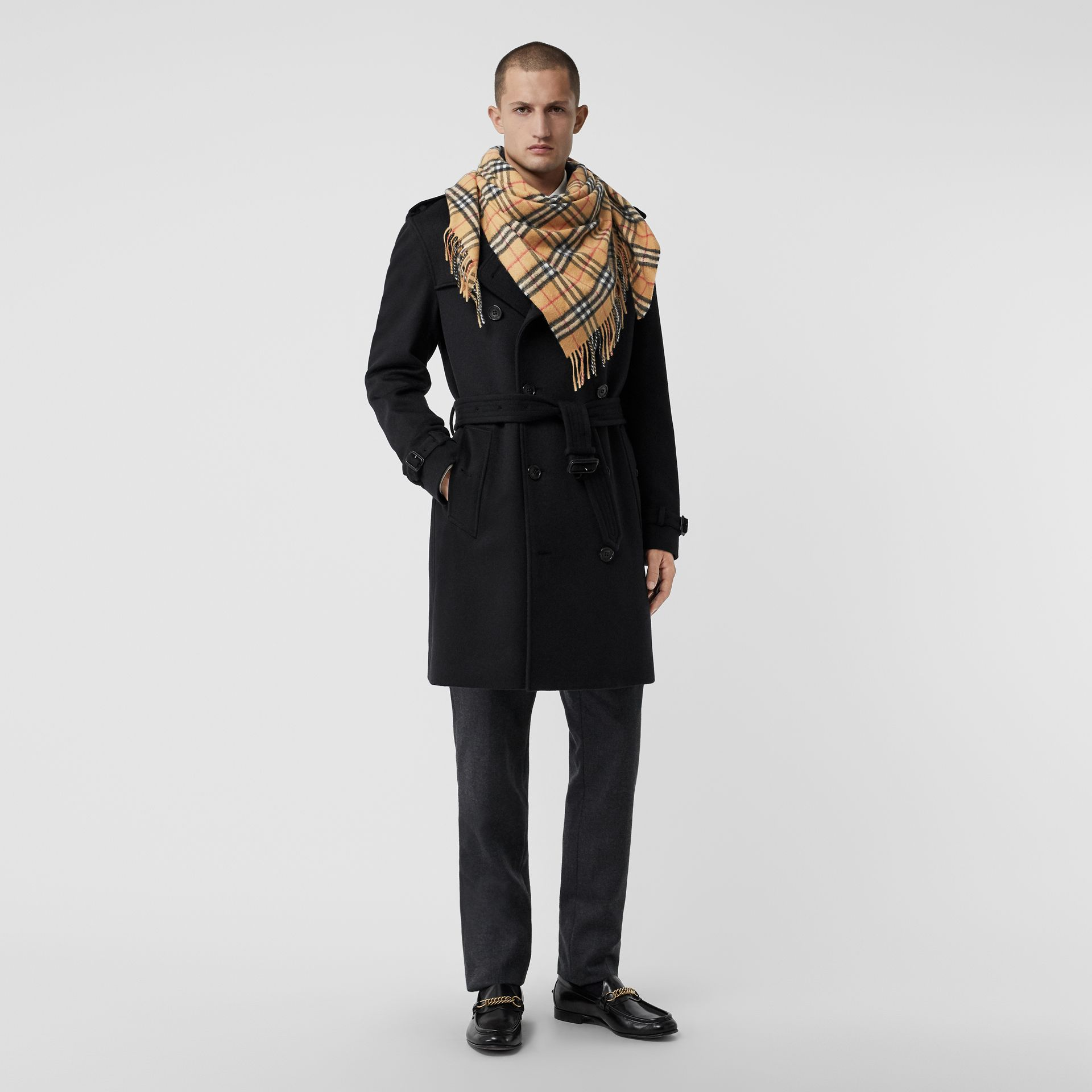 The Burberry Bandana in Vintage Check Cashmere in Antique Yellow | Burberry - gallery image 3