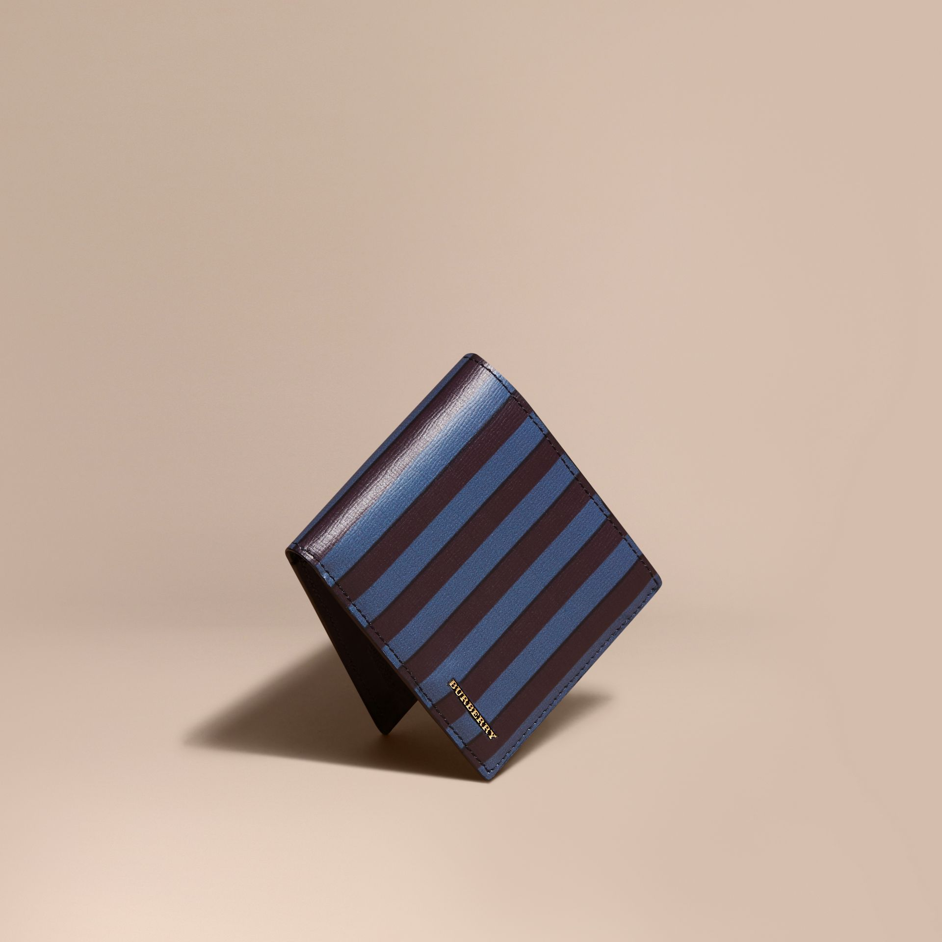 Navy Pyjama Stripe London Leather Folding Wallet - gallery image 1