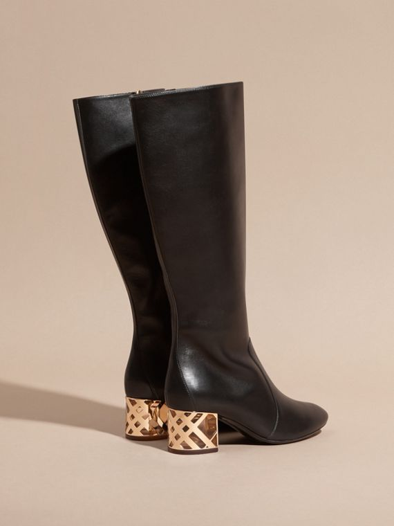 Black Check Heel Leather Knee-high Boots - cell image 3