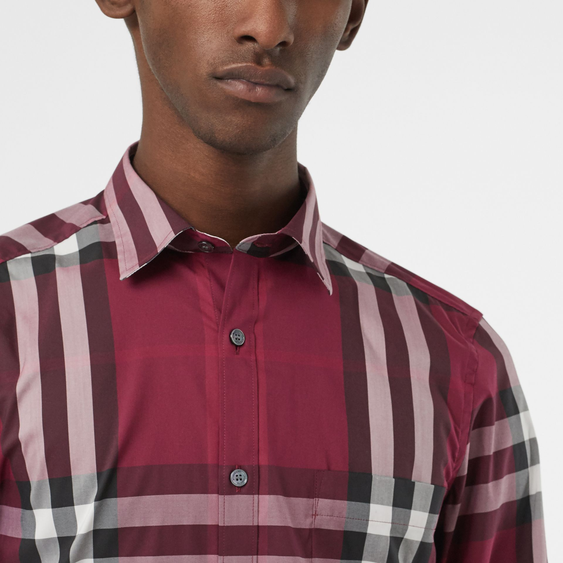 Check Stretch Cotton Shirt in Plum - Men | Burberry Canada - gallery image 1