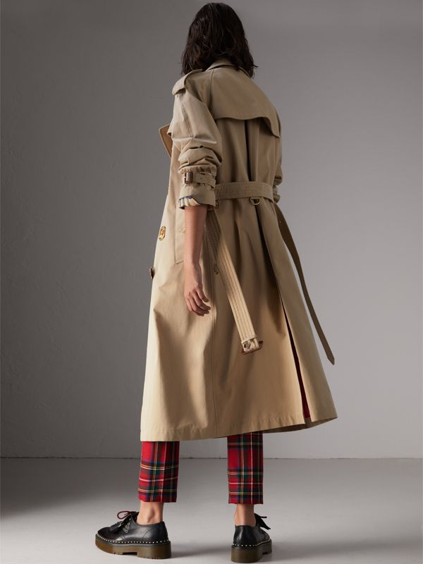 Bird Button Cotton Gabardine Trench Coat in Honey - Women | Burberry - cell image 2