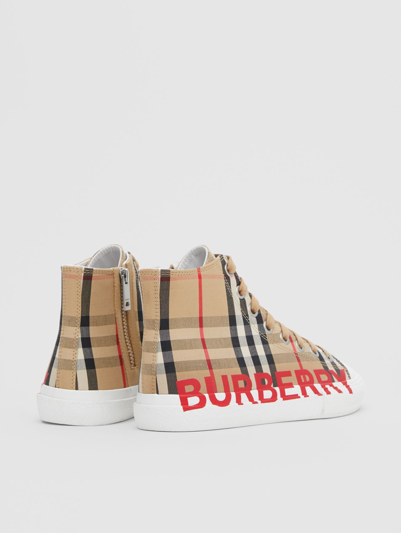 Logo Print Vintage Check High-top Sneakers in Archive Beige
