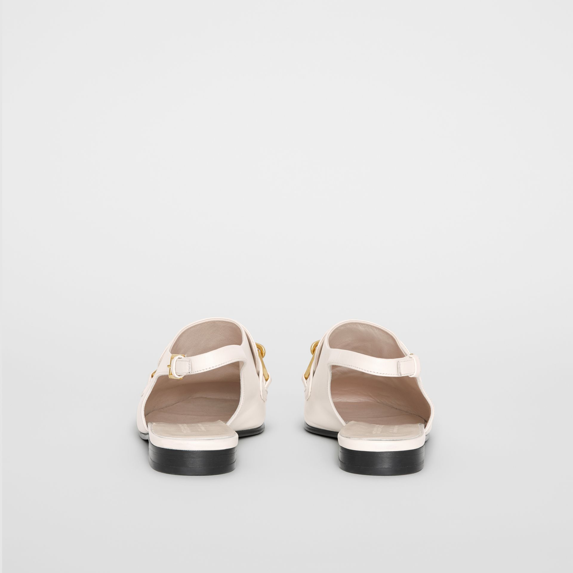 Link Detail Leather Slingback Loafers in Ash White - Women | Burberry - gallery image 4
