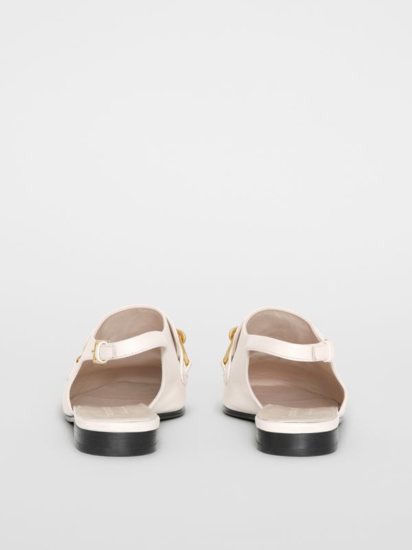 Link Detail Leather Slingback Loafers in Ash White - Women | Burberry - cell image 3