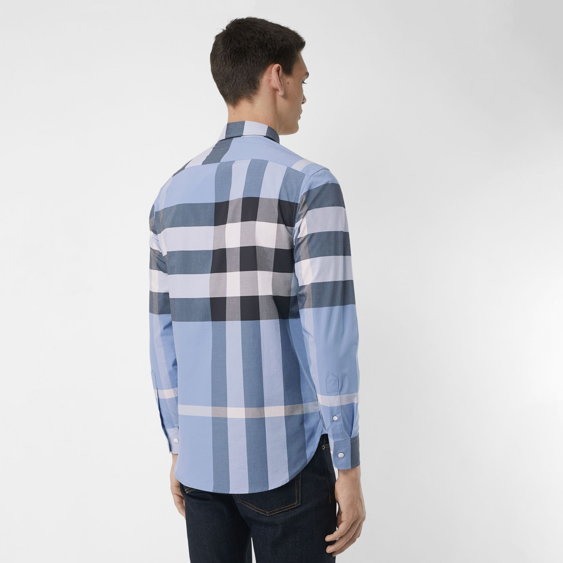Check Stretch Cotton Shirt in Cornflower Blue - Men   Burberry United  States - gallery image 0003cf4f8822