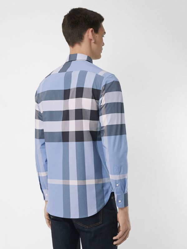 Check Stretch Cotton Shirt in Cornflower Blue - Men | Burberry - cell image 2