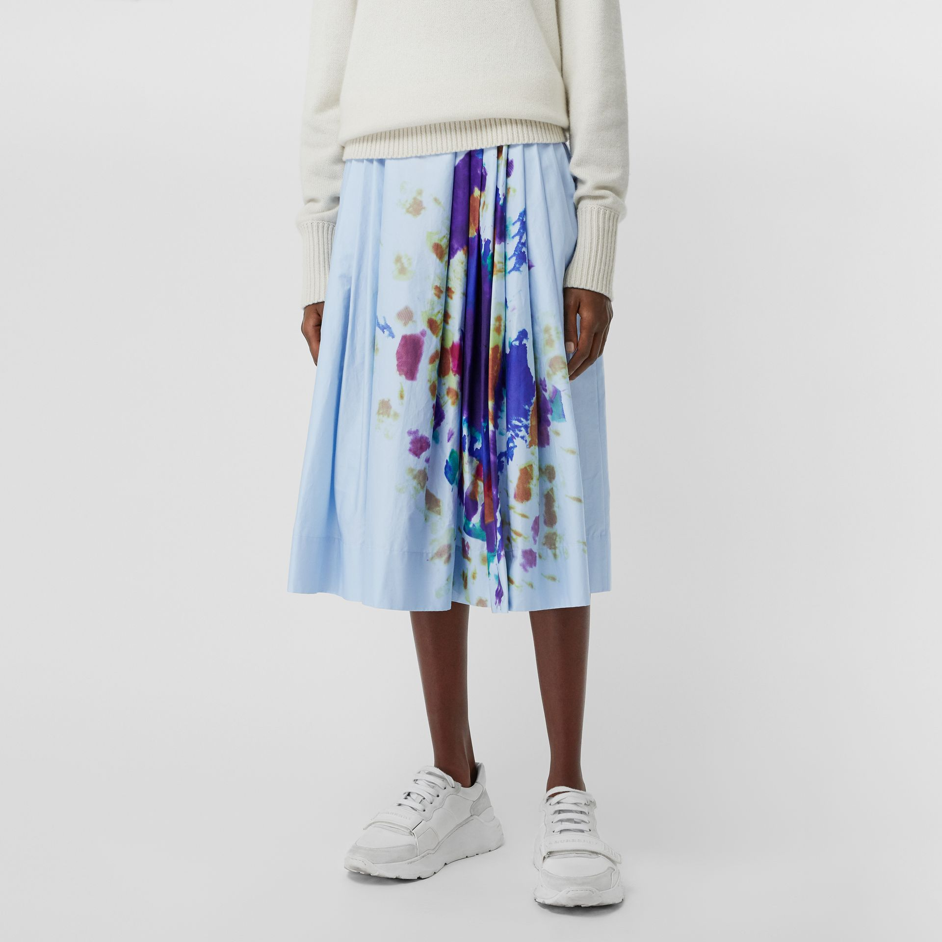 Rainbow Print Cotton Sateen Skirt in Light Blue - Women | Burberry Singapore - gallery image 4