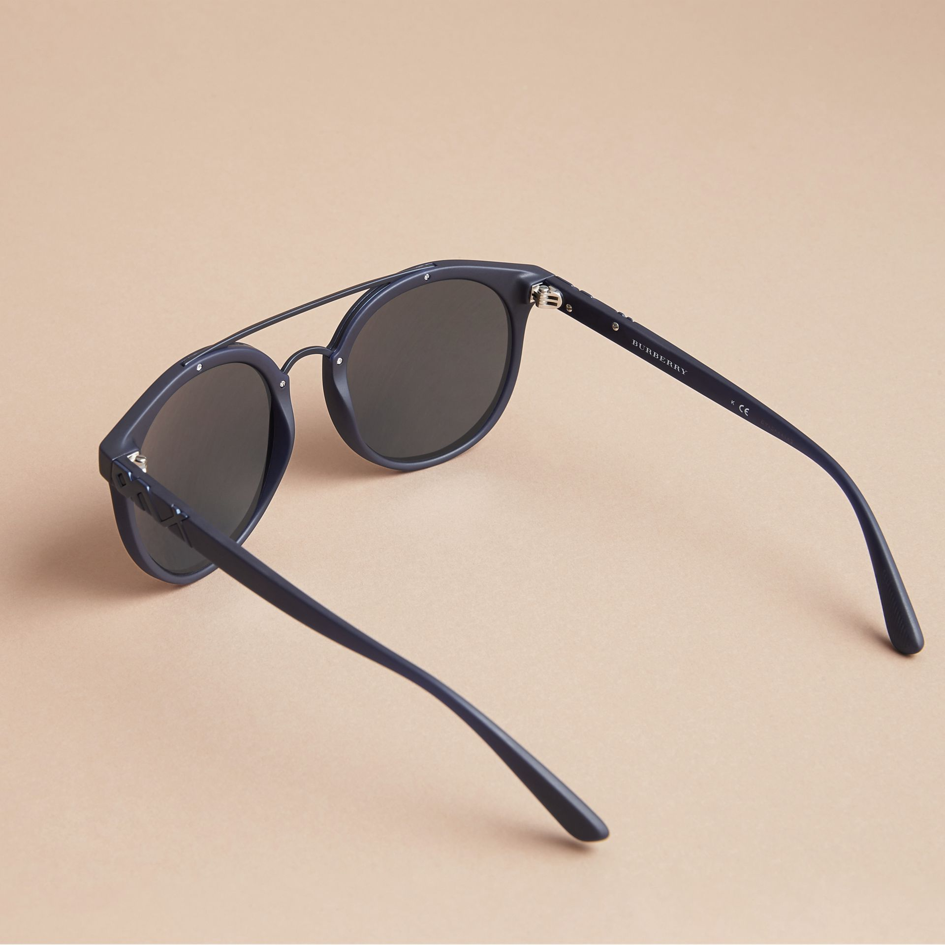 Top Bar Square Frame Sunglasses in Navy - Men | Burberry United Kingdom - gallery image 3