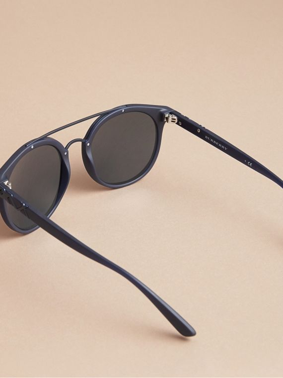 Top Bar Square Frame Sunglasses in Navy - Men | Burberry - cell image 3