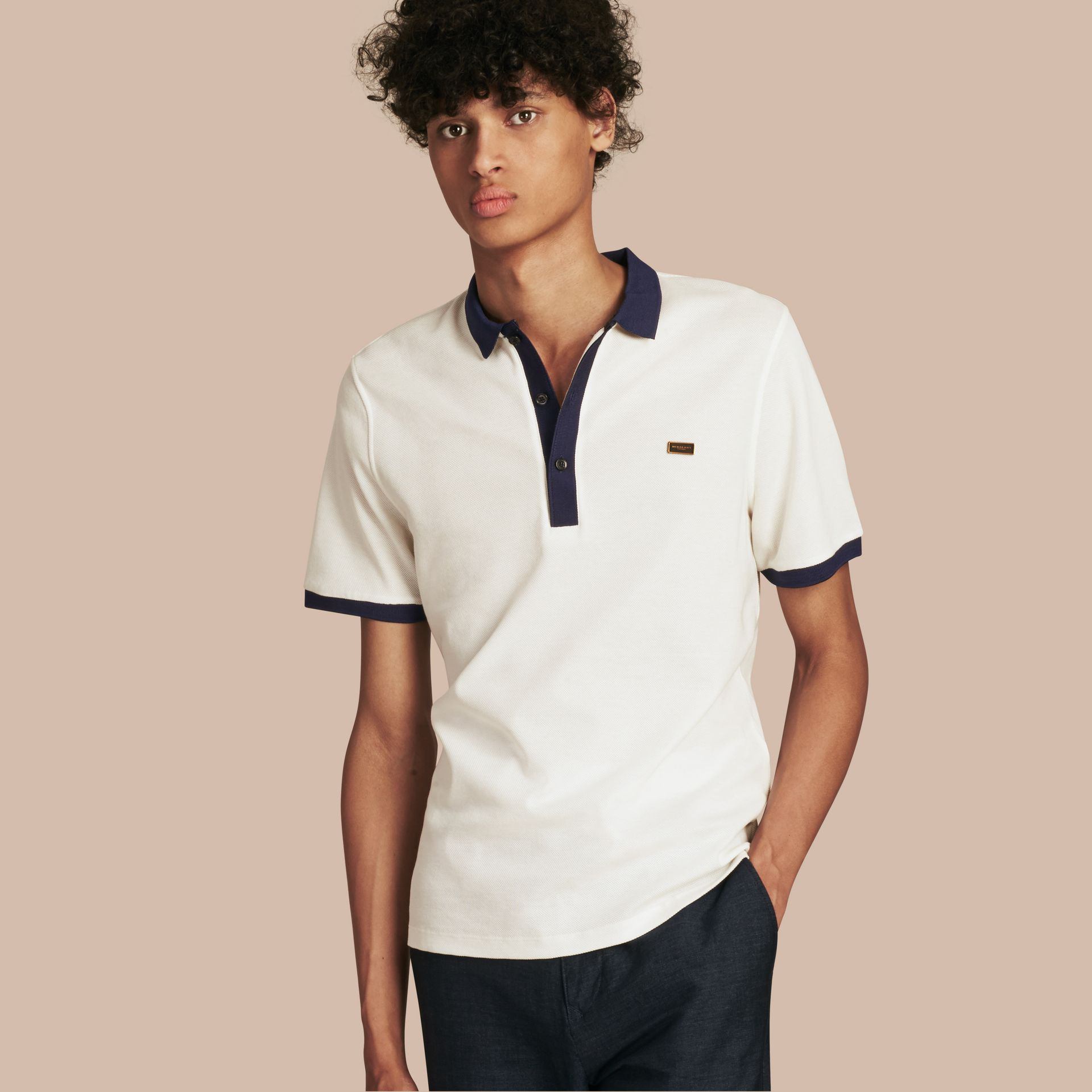 White/navy Mercerised Cotton Polo Shirt - gallery image 1