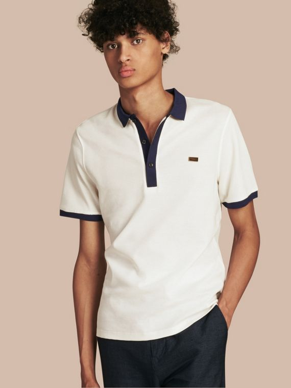 Mercerised Cotton Polo Shirt White/navy