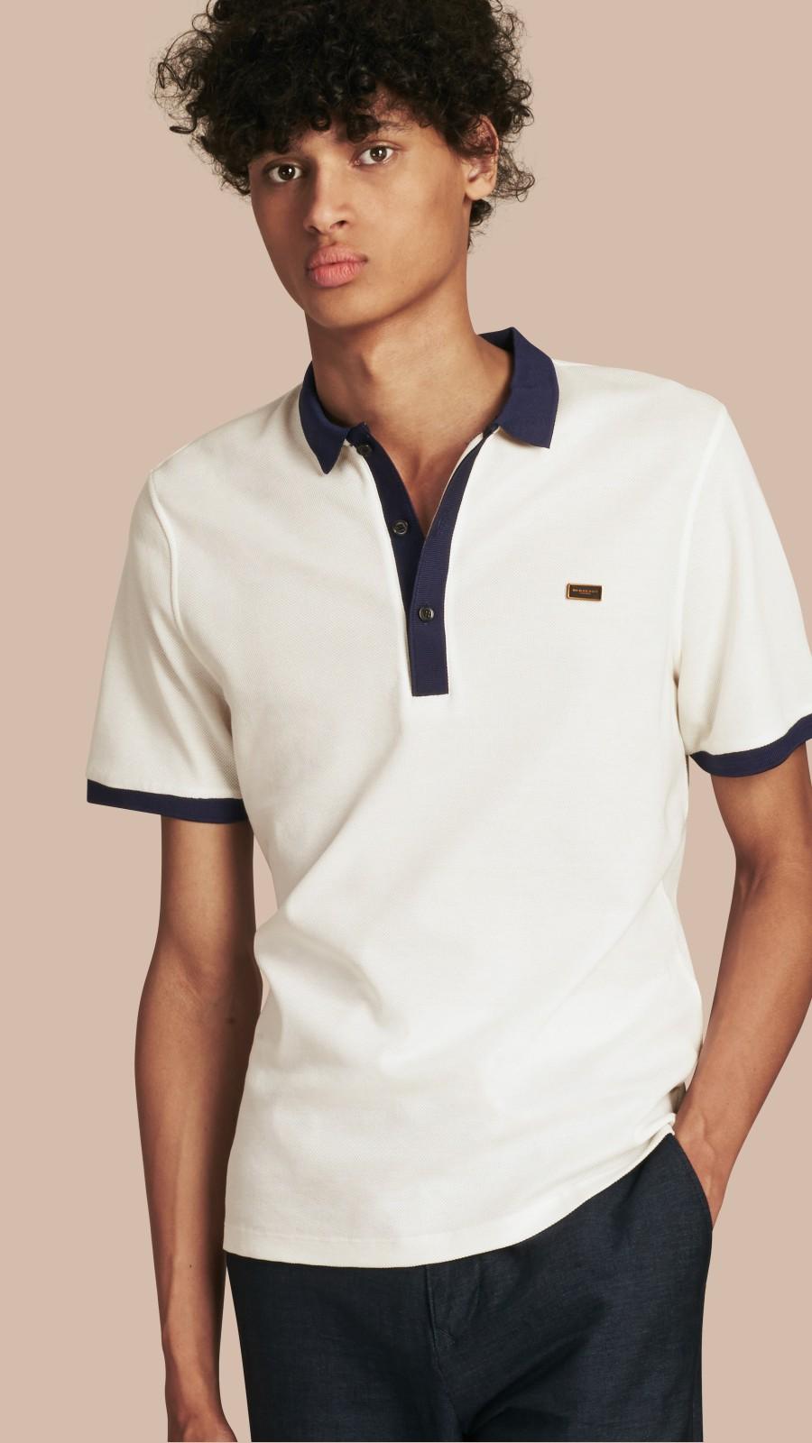 White/navy Mercerised Cotton Polo Shirt White/navy - Image 1