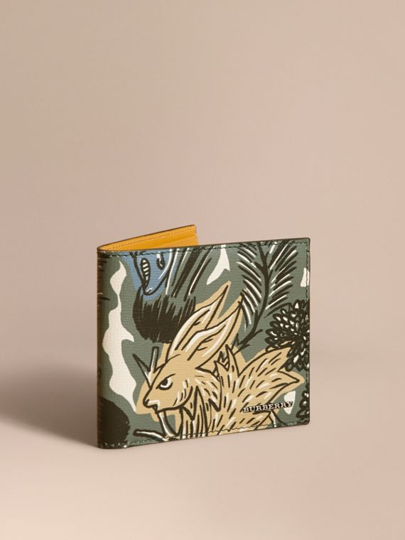 Beasts Print Leather Folding Wallet