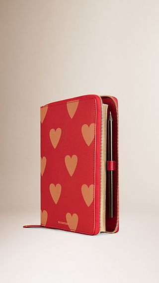 Ziparound Heart Print Grainy Leather A5 Notebook