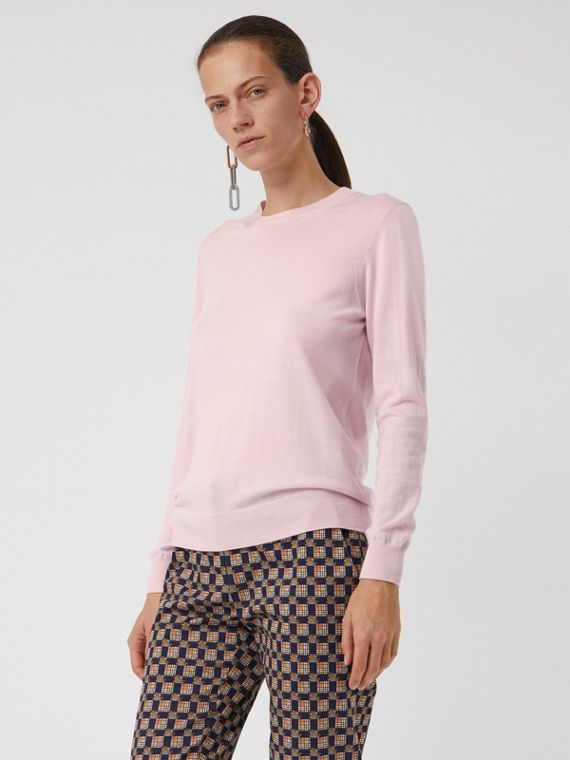 Check Elbow Detail Merino Wool Sweater in Light Pink