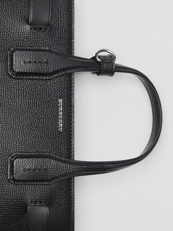 The Small Banner in Leather and Vintage Check in Black - Women | Burberry - cell image 1