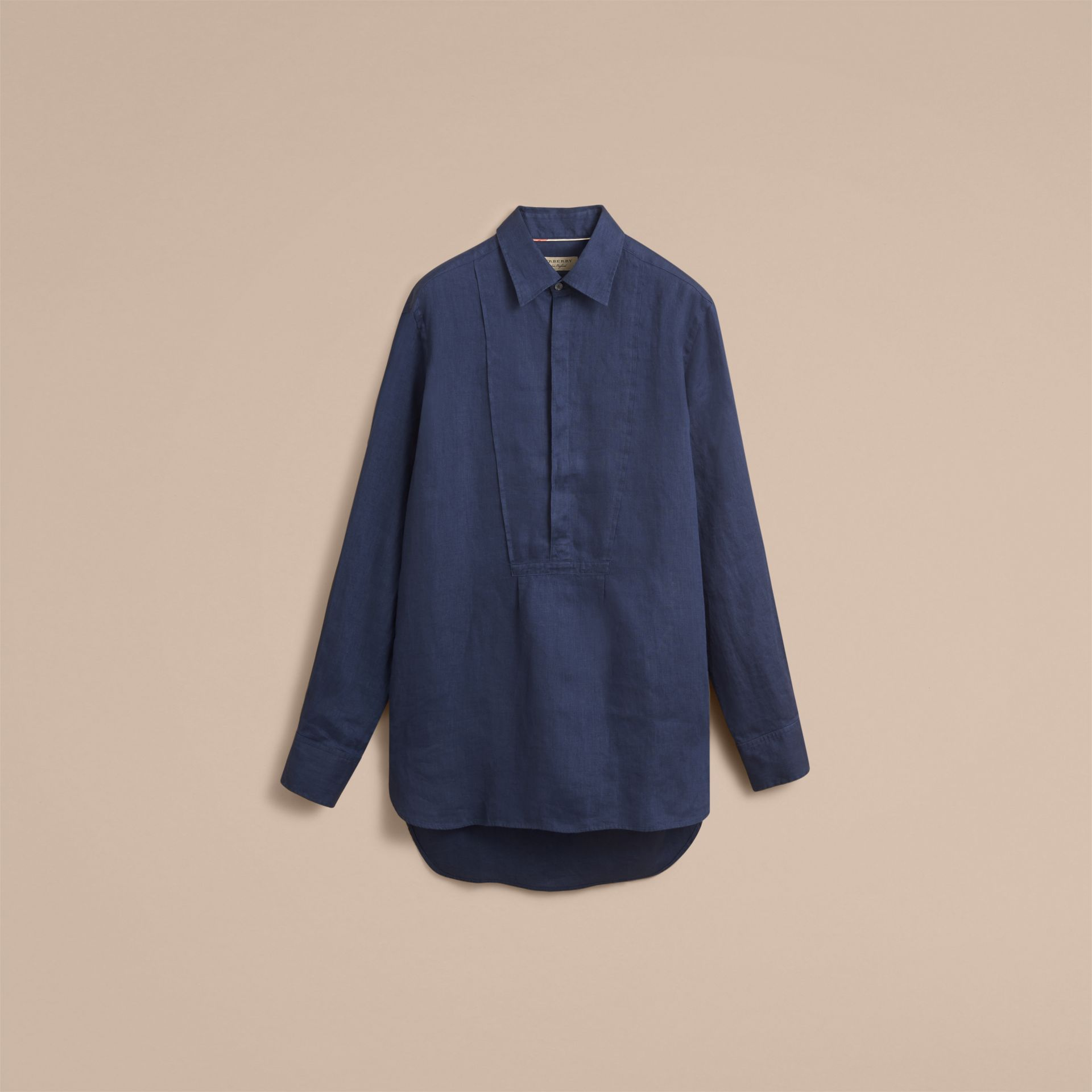 Bib Detail Linen Tunic Shirt in Navy - Men | Burberry Hong Kong - gallery image 4