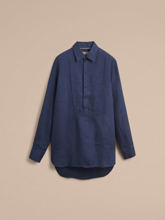 Bib Detail Linen Tunic Shirt - Men | Burberry - cell image 3