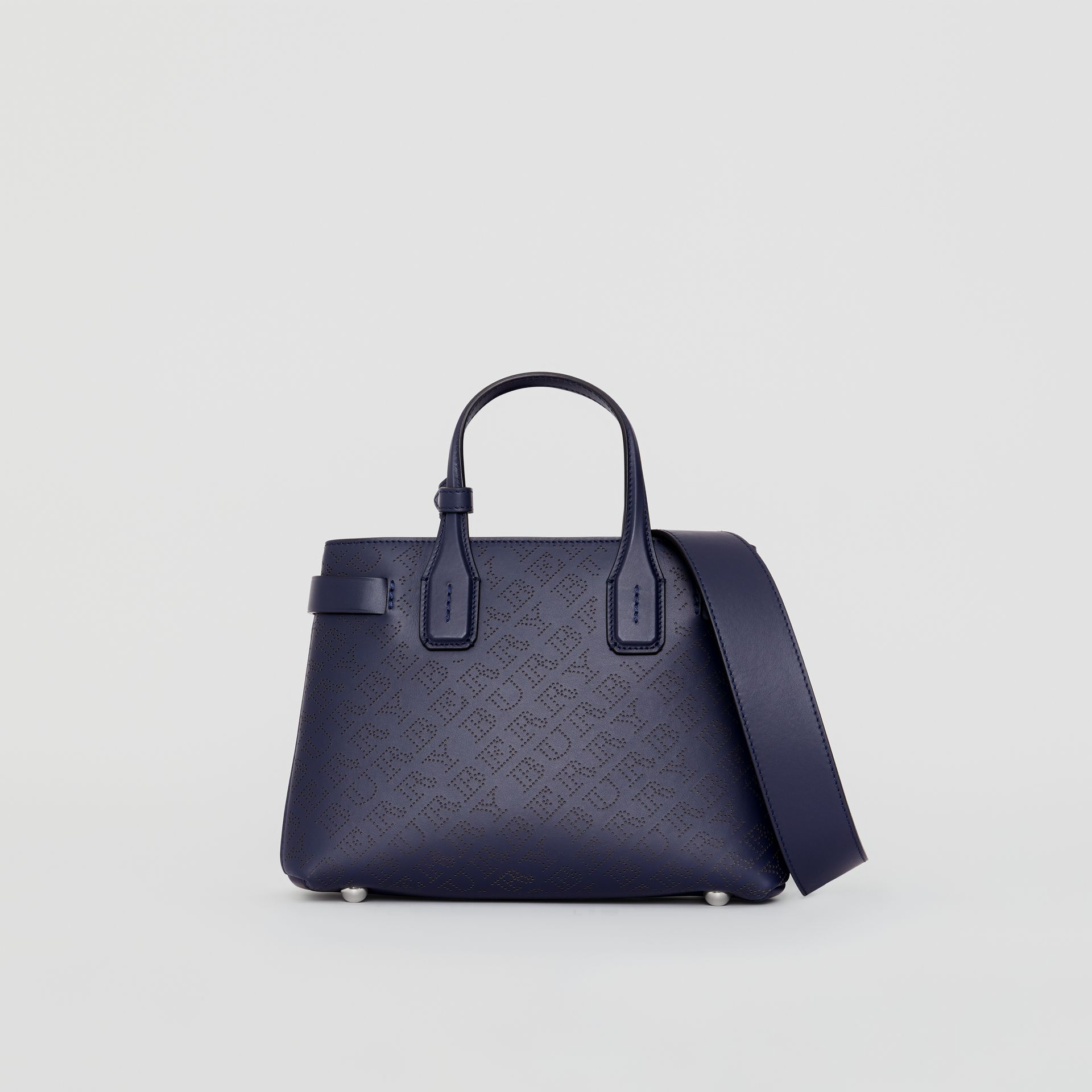 The Small Banner in Perforated Logo Leather in Regency Blue - Women | Burberry United Kingdom - gallery image 0