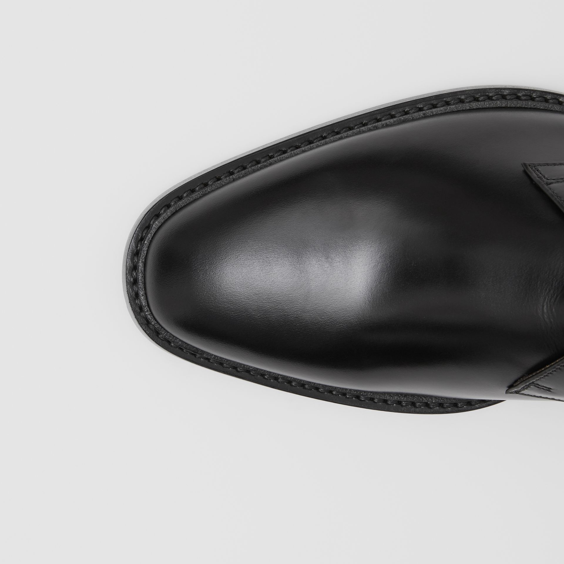 Brogue Detail Leather Boots in Black - Men | Burberry - gallery image 1