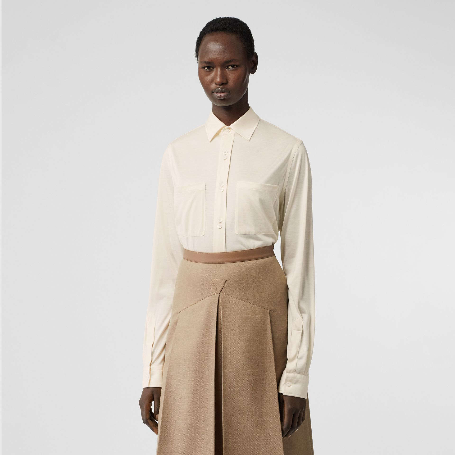 Silk Jersey Oversized Shirt in Natural White - Women | Burberry - gallery image 0