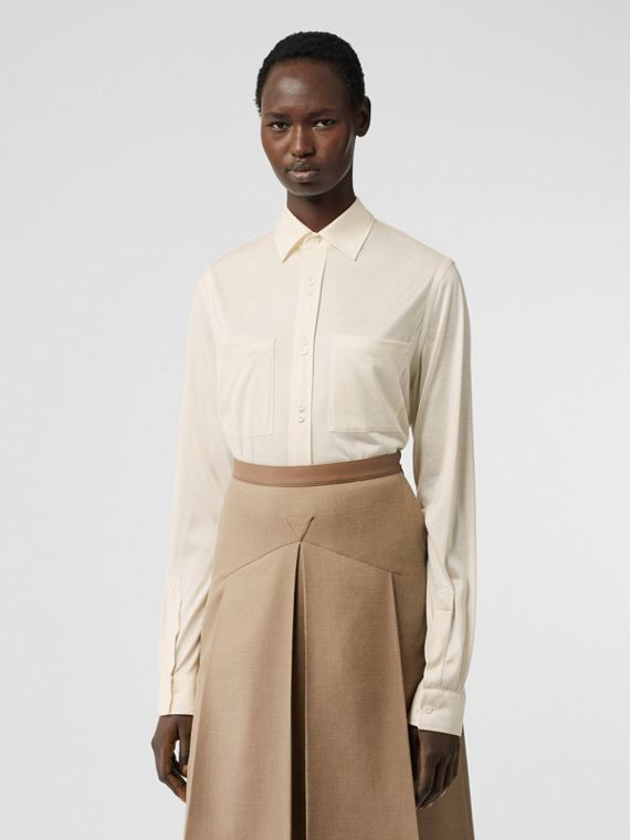 Silk Jersey Oversized Shirt in Natural White