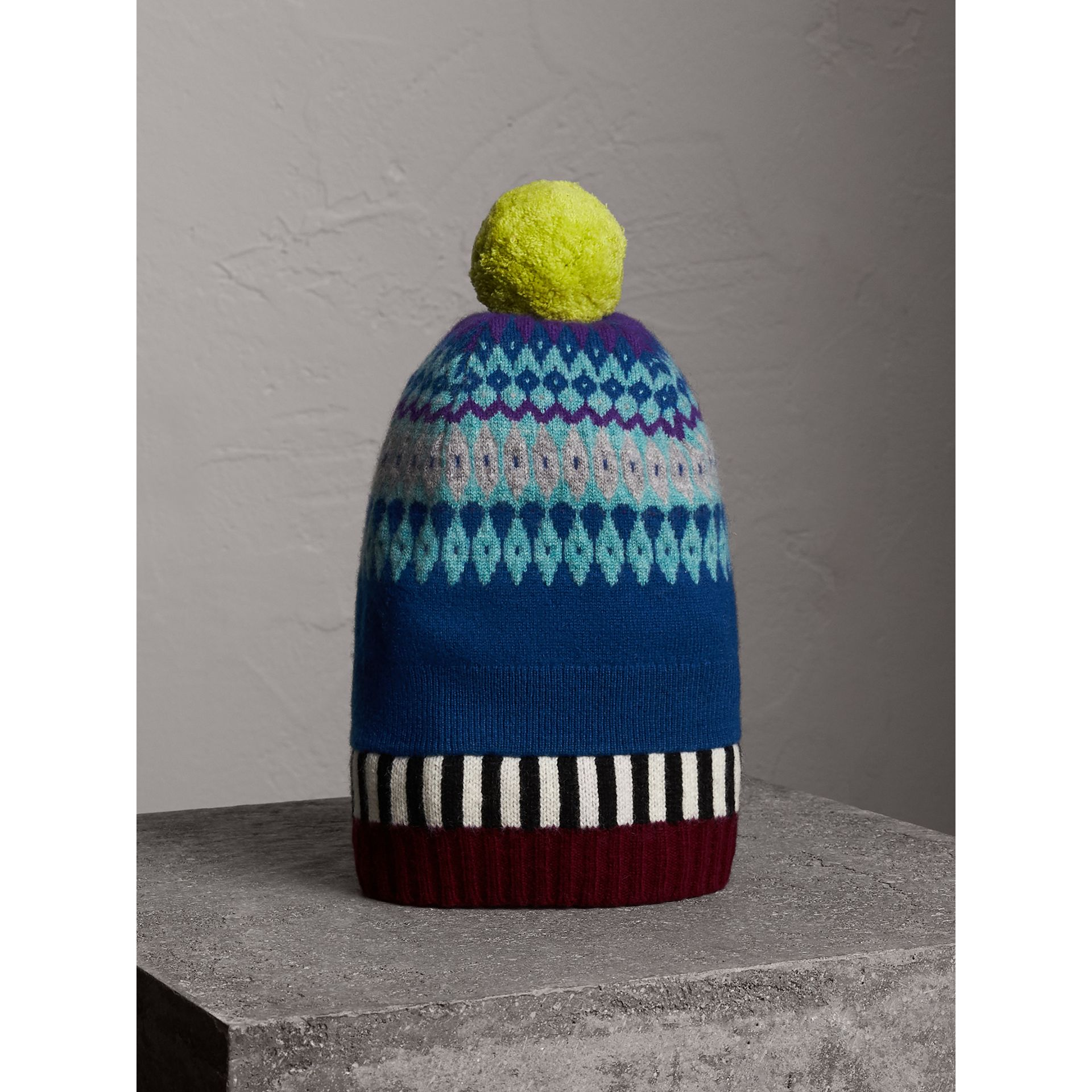 Fair Isle Cashmere Wool Pom-pom Beanie in Bright Blue | Burberry - gallery image 1