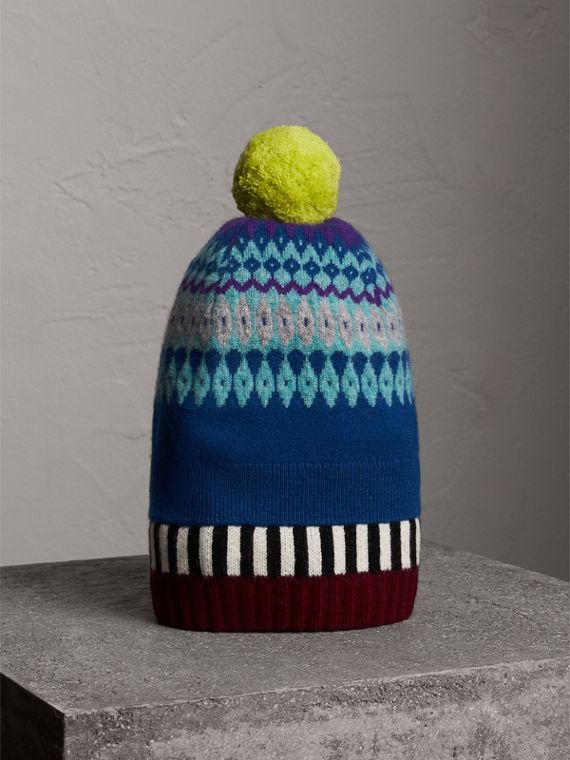Fair Isle Cashmere Wool Pom-pom Beanie in Bright Blue