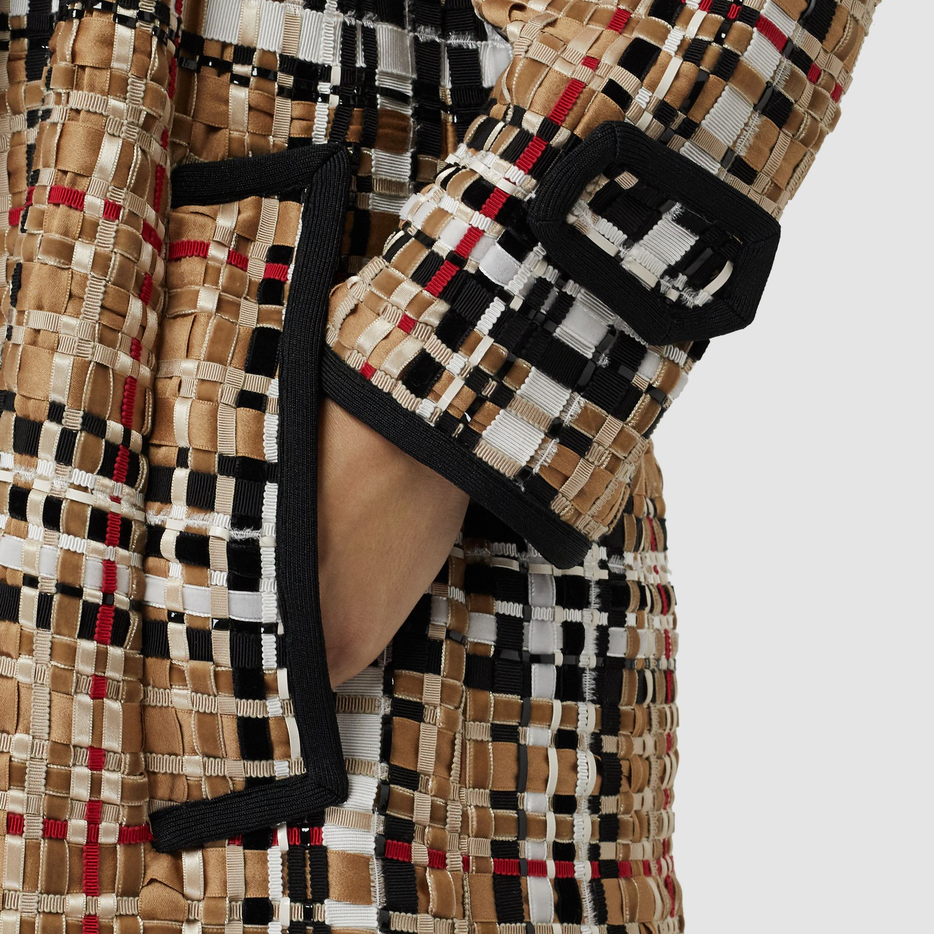 Check Basketweave Ribbon Coat in Archive Beige - Women | Burberry Australia - gallery image 5