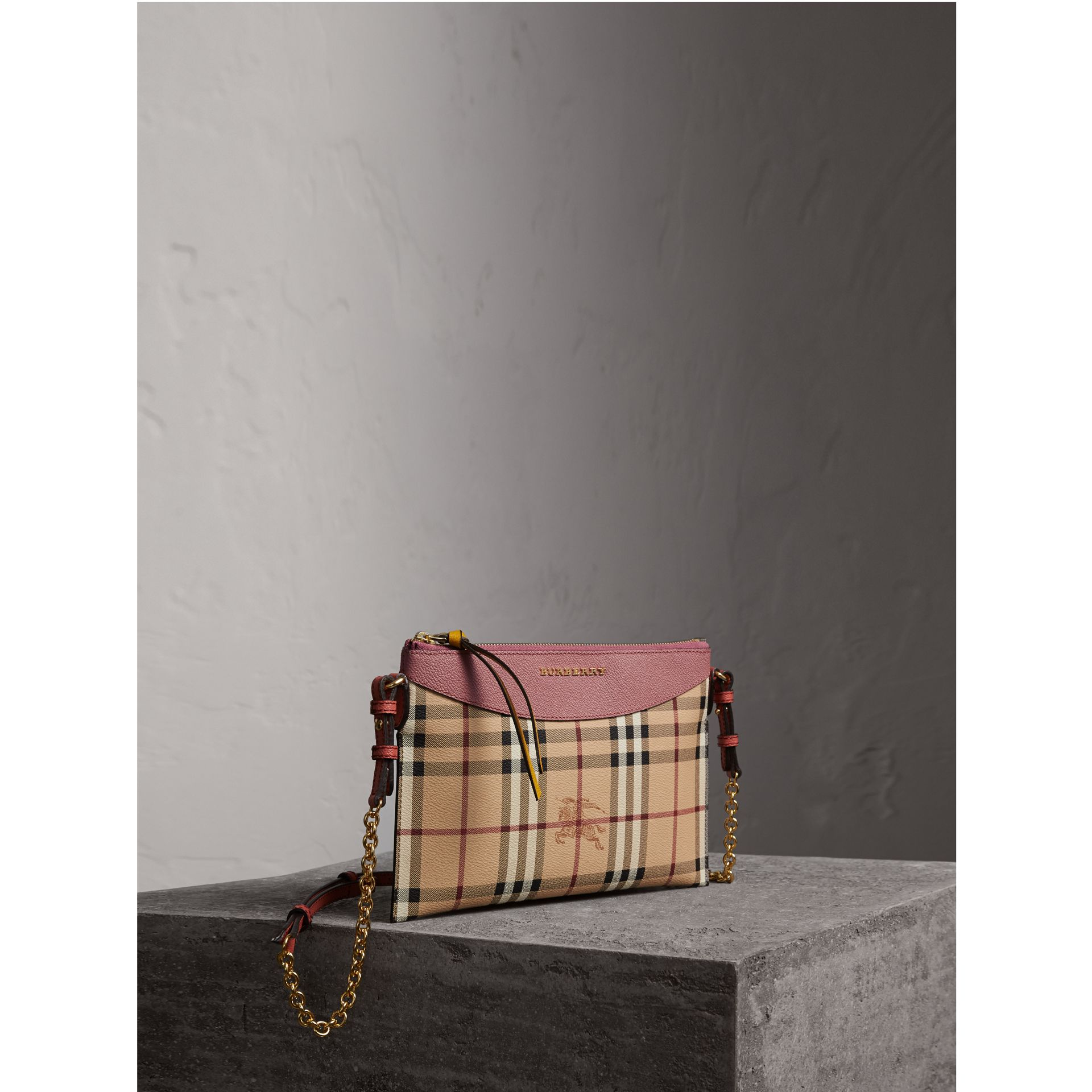 Haymarket Check and Two-tone Leather Clutch Bag in Dusty Pink/multicolour - Women | Burberry - gallery image 1