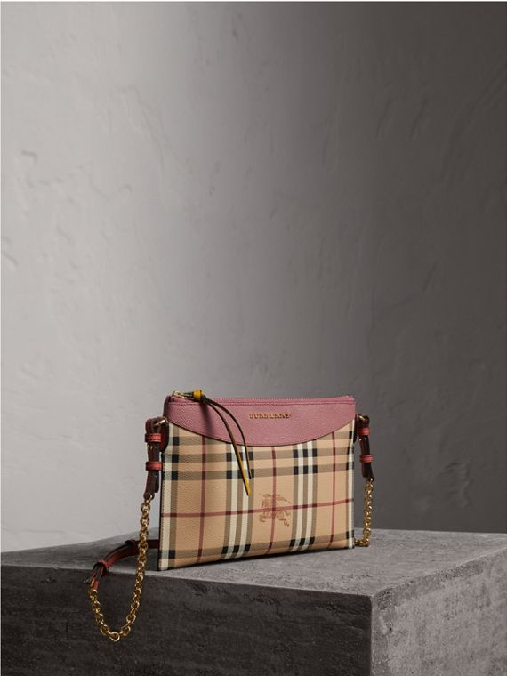Haymarket Check and Two-tone Leather Clutch Bag in Dusty Pink/multicolour - Women | Burberry