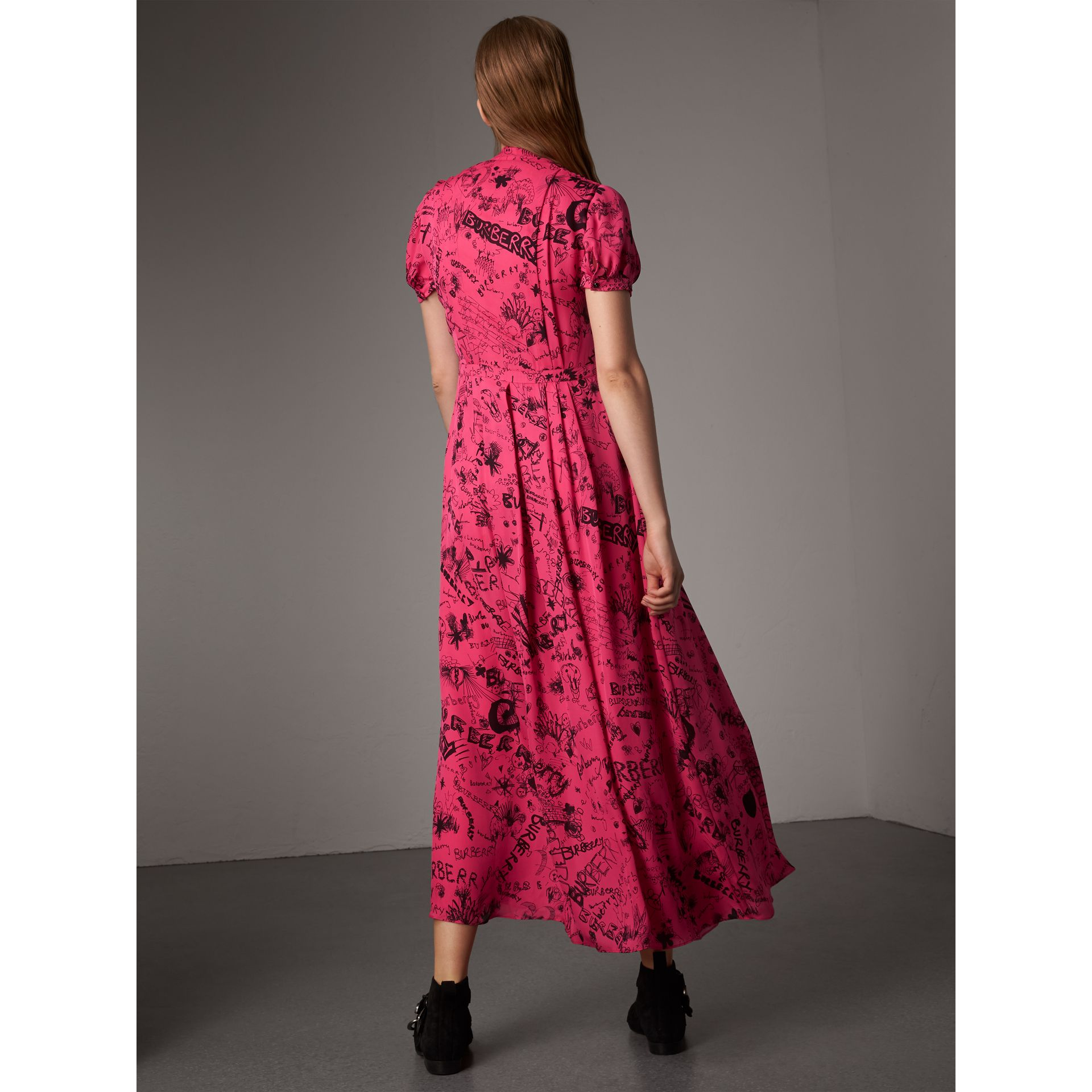 Doodle Print Silk Tie-neck Dress in Fluro Pink - Women | Burberry - gallery image 2