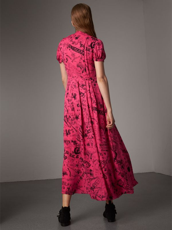 Doodle Print Silk Tie-neck Dress in Fluro Pink - Women | Burberry - cell image 2