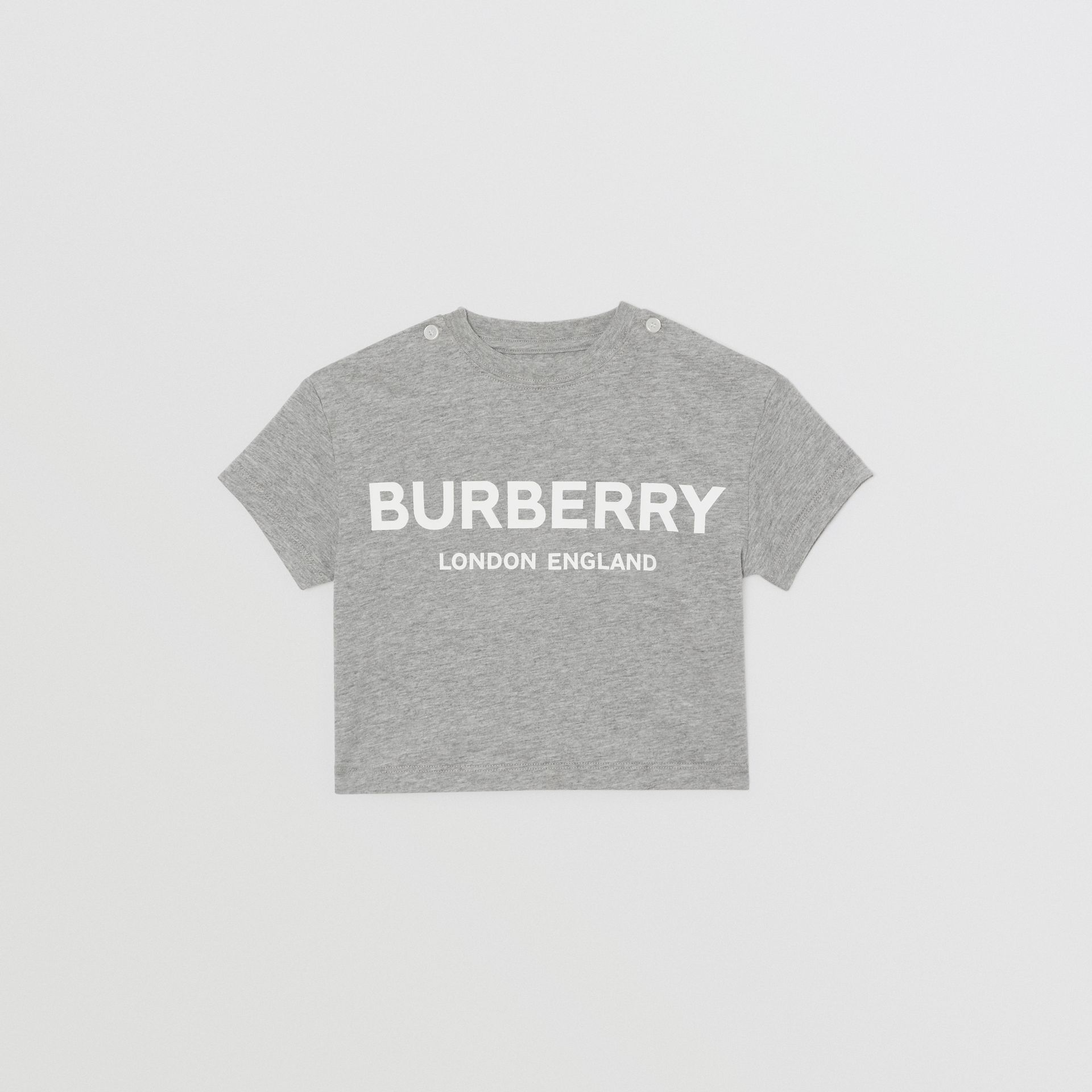 Logo Print Cotton T-shirt in Grey Melange - Children | Burberry Singapore - gallery image 0