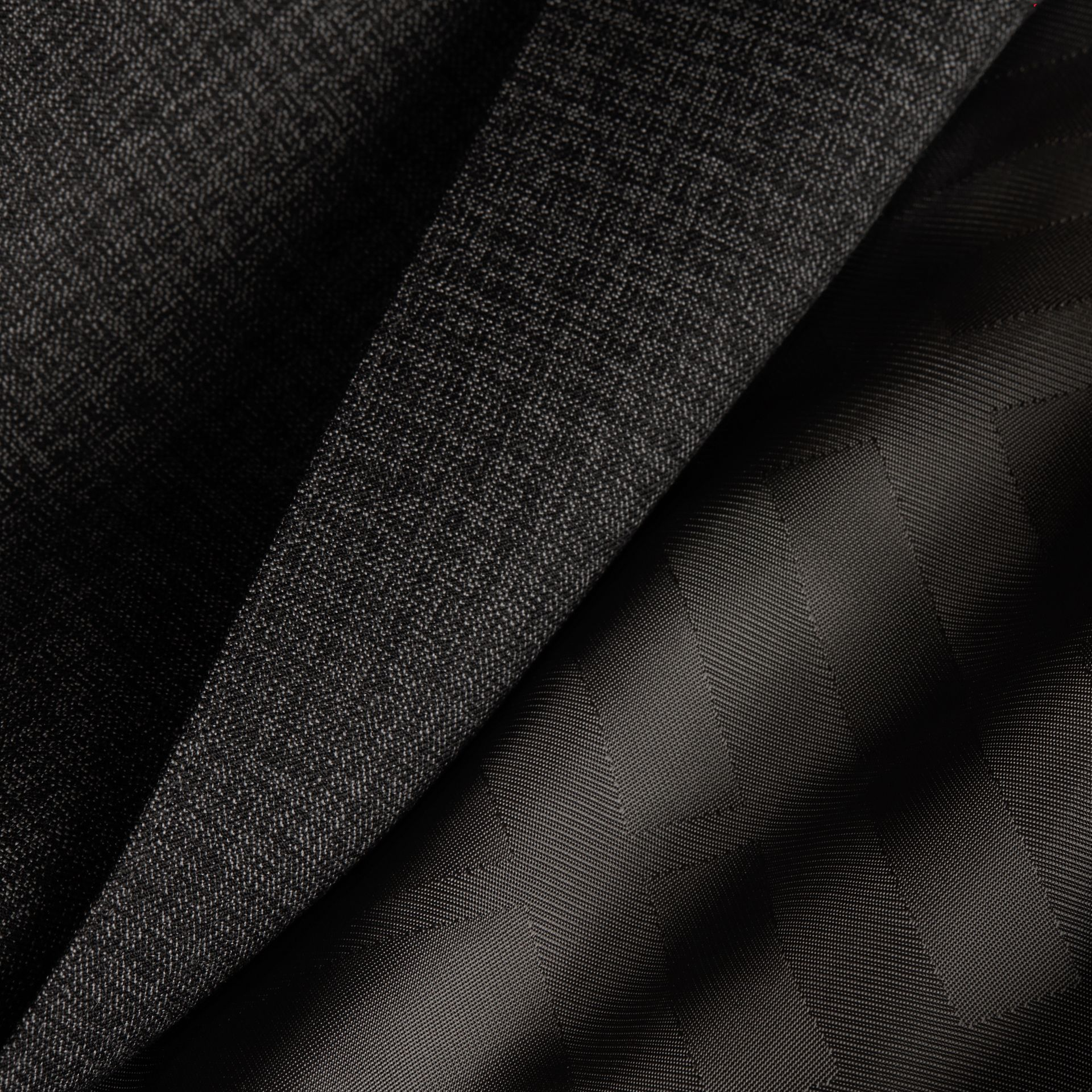 Dark grey melange Slim Fit Melange Wool Half-canvas Suit - gallery image 2